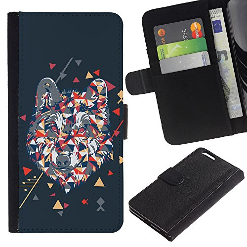 EuroCase - Apple Iphone 6 PLUS 5.5 - Cool Polygon Triangle Wolf Hipster - Cuir PU Coverture Shell Armure Coque Coq Cas Etui Housse Case Cover