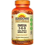 Sundown Naturals Triple Omega 3-6-9 Soft Gels, 200 Count