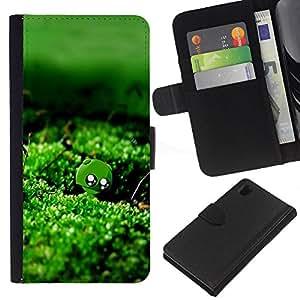 Ihec-Tech / Flip PU Cuero Cover Case para Sony Xperia Z1 L39H - Nature Green Moss Water