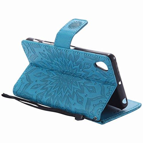 Yiizy Sony Xperia X Performance Custodia Cover, Sole Petali Design Sottile Flip Portafoglio PU Pelle Cuoio Copertura Shell Case Slot Schede Cavalletto Stile Libro Bumper Protettivo Borsa (Blu)