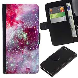 Cosmos Espacio púrpura Estrellas- la tarjeta de Crédito Slots PU Funda de cuero Monedero caso cubierta de piel Para Apple (4.7 inches!!!) iPhone 6 / 6S