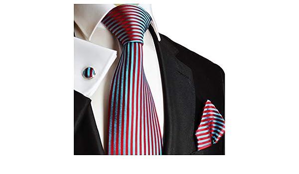 Paul Malone - Conjunto de corbata de 100% seda, pañuelo y gemelos ...
