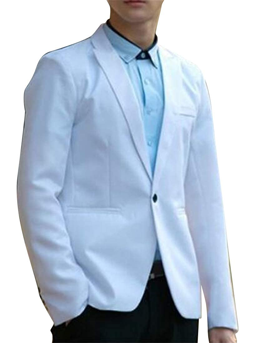 MMCP Men 1 Button Plain Wedding Party Casual Business Slim Fit Blazer Jacket Coat