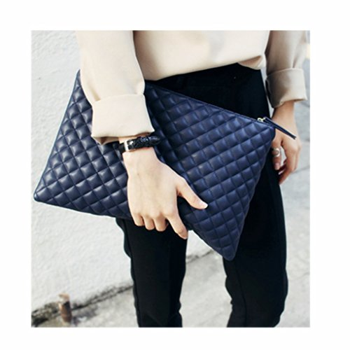 Envelop Oversized Bag Pattern Leather Purse Quilted Handbag Pouch Color Fashionista Diamond Solid Shoulder Bag Blue Tote Clutch Amily C4t6qwdq
