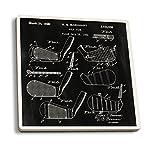 Lantern Press Blackboard Patent - Golf Club Head (Set of 4 Ceramic Coasters - Cork-Backed, Absorbent)