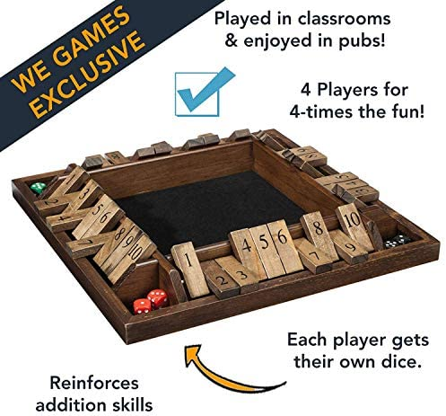 1 to 4 Players Can Play at The Same time for The Classroom OLOPE 4 Player Shut The Box Mathematic Traditional Dice Game Walnut Wood Home or Pub Green