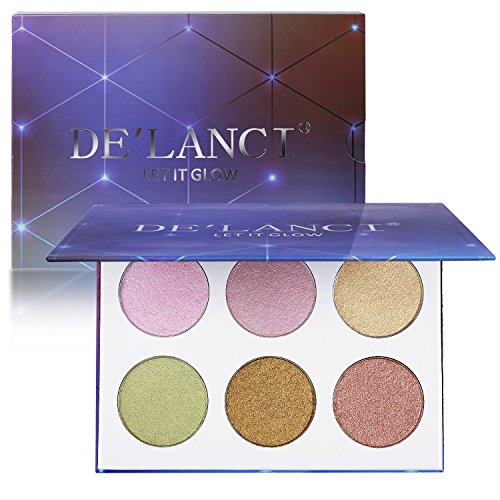 DE'LANCI 6 Colors Cosmetics Cream Contour and Highlighter Makeup Palette – Shimmer Bronzers Contour Shadow Illuminating Creme Glow Kit,0.91oz.