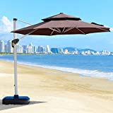 PURPLE LEAF 11 Feet Double Top Deluxe Patio Umbrella Offset Hanging Umbrella Outdoor Market Umbrella Garden Umbrella, Brown