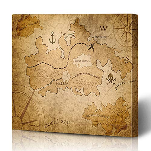 (Ahawoso Canvas Prints Wall Art 12x12 Inches Drawn Brown Medieval Pirate Treasure Map Parchment Yellow Old Fantasy Vintage Antique Exploration Decor for Living Room Office Bedroom)