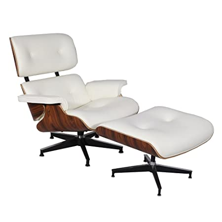 Fine Mcm Eames Style Lounge Chair Ottoman Stool White Aniline Pdpeps Interior Chair Design Pdpepsorg