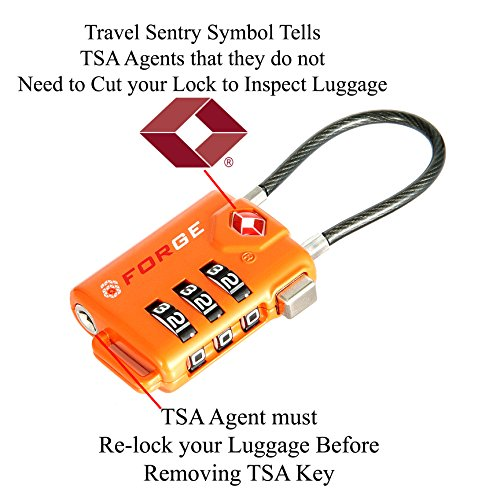 Review TSA Approved Cable Luggage Locks, Re-settable Combination with Alloy Body …