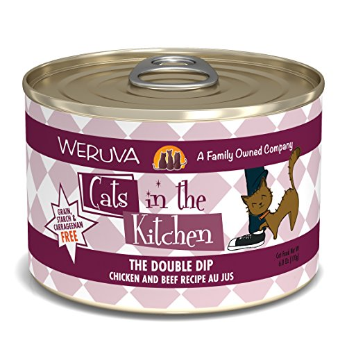Double Cat - Weruva Cats in the Kitchen, The Double Dip with Chicken & Beef Au Jus Cat Food, 6oz Can (Pack of 24)
