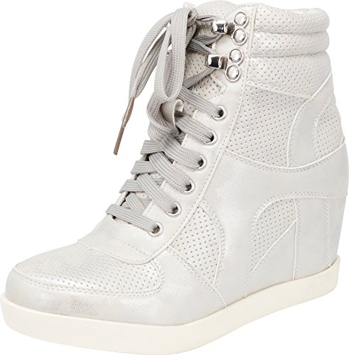 - Cambridge Select Women's High Top Closed Toe Lace-up Perforated Hidden Wedge Fashion Sneaker,10 B(M) US,Silver