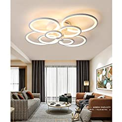 Interior Lighting BDenise Modern Ceiling Light Fixture Flush Mount with Remote Control, Dimmable LED Chandelier Lighting with 8 Ring for… modern ceiling light fixtures