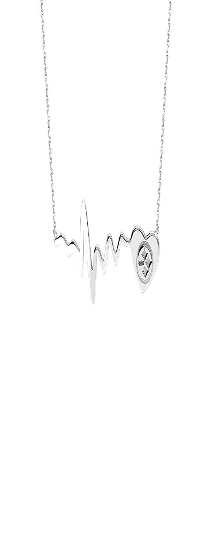 DiamondJewelryNY Pittsburgh Steelers Pendant NFL Pittsburgh Steelers Heart Beat Necklace