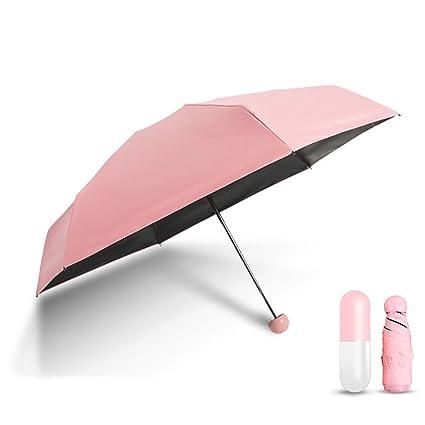 TESS HOME Mini Ultra Lightweight 5 Folding Anti-UV Sun Umbrella with Cute Capsule Case (Pink)