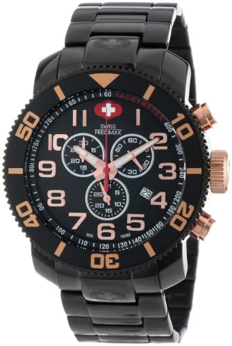 Swiss Precimax Men s SP13043 Verto Pro Black Dial with Black Stainless Steel Band Watch
