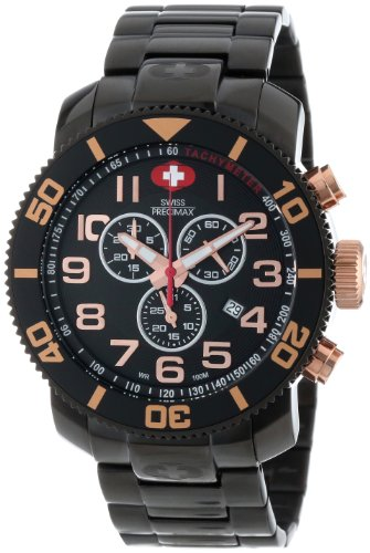 Swiss Precimax Men's SP13043 Verto Pro Black Dial with Black Stainless Steel Band Watch