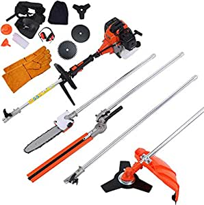 DatingDay 52cc 6 in 1 Gas Petrol Hedge Trimmer Brush Cutter Chainsaw Multifunctional