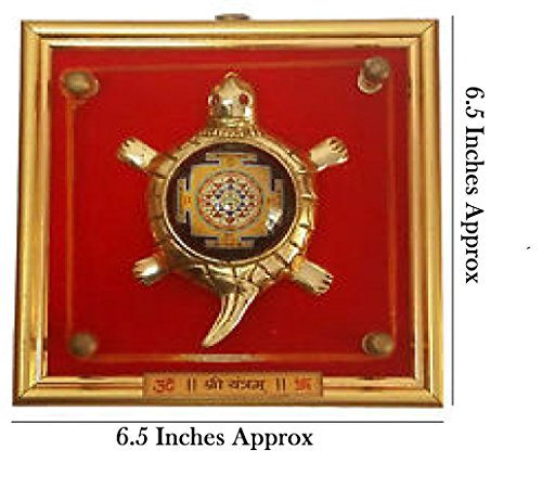 IndianStore4All Metal Shri Yantra Tortoise Lense Yantram In Golden Brass Freme Hanging ()