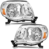 Torchbeam Headlight Assembly for 2005 2006 2007 2008 2009 2010 2011 Tacoma Headlights Chrome Housing Amber Reflector Clear Le