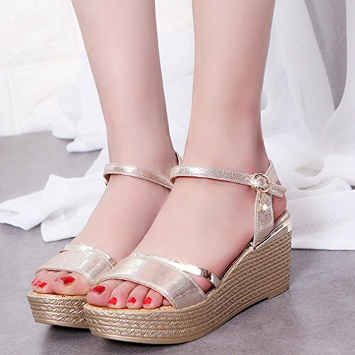 Heel Gold Wedges High Wedge Summer Ladies Casual Comfortable Sandals Slippers Shoes Transer® Sandals Women Platforms RCwIqxf4