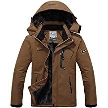 Pooluly Men's Waterproof Windproof Rain Snow Jacket Hooded Fleece Ski Coat