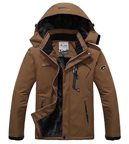 Pooluly Men's Waterproof Windproof Rain Snow Jacket Hooded Fleece Ski Coat (Brown), (M)