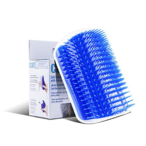 Cat Self Groomer, Wall Corner Massage Comb Perfect Massager Brush Tool for Cats with Long & Short Fur (Blue)