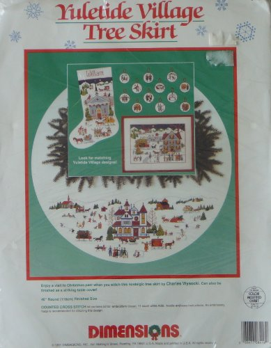 Dimensions Charles Wysocki Yuletide Village Tree Skirt Counted Cross Stitch Kit