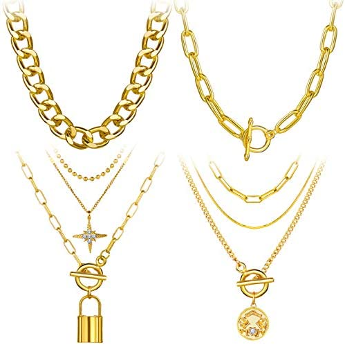 4PCS Gold Layered Chain Necklace set for Women Girls Boho Pendant with Lock Coin Chunky Link Chain Jewelry for Christmas Gift