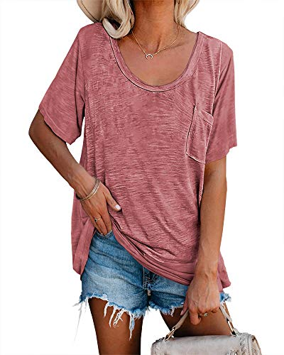 Womens Tunic T Shirts Short Sleeve Round Neck Soft Loose Shirts Summer Casual Tops with Pocket Rose Red