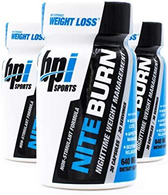 BPI Sports Nite Burn Nighttime Weight Management Formula LimitedQuantity 640 MG 30-Count Pack of 3