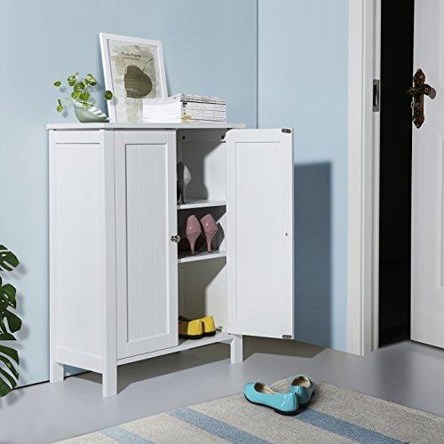 SONGMICS Bathroom Floor Storage Cabinet with Double Door Adjustable Shelf White UBCB60W by SONGMICS (Image #2)