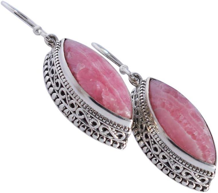 Pendientes de rodocrosita rosa, plata de ley 925 maciza, pendientes hechos a mano, joyería para mujer, regalo de aniversario para esposa, FSJ-4870