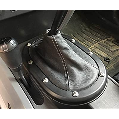 RedlineGoods Shift Boot Compatible with Jeep Wrangler JK 2007-10. Black Alcantara-Blue Thread: Automotive