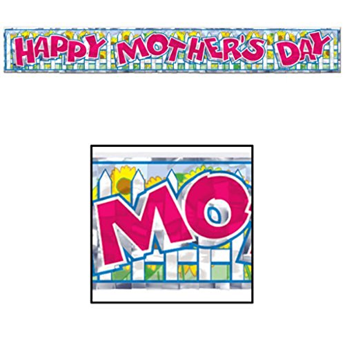 Happy Mothers Day Sign (Metallic Happy Mother's Day Fringe Banner Party Accessory (1 count) (1/Pkg))