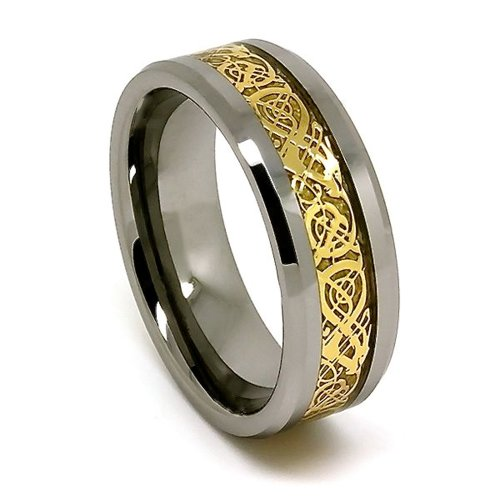 8mm Polished Tungsten Wedding Band with Golden Colored Celtic Dragon Inlay (Sizes 4-17)