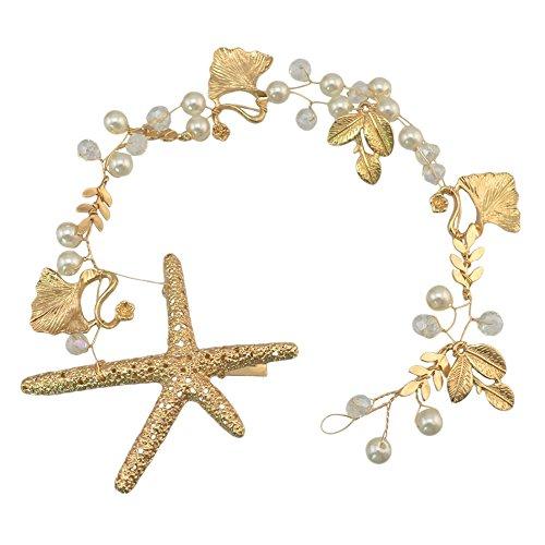 Sunshinesmile Wedding Bridal Gold Starfish Crystal Rhinestone Hair Accessories Headband Tiara