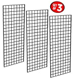 Only Garment Racks #1898BLK (3PCS) Only Garment Racks Commercial Grade Gridwall Panels - Heavy Duty Grid Panel for Any Retail Display, 2' Width x 5' Height, 3 Gridwall Panels Per Carton (Black Finish)