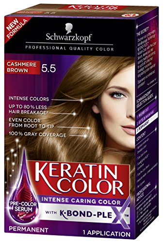 Schwarzkopf Keratin Color Anti-Age Hair Color Cream, 5.5 Cashmere Brown (Packaging May Vary)