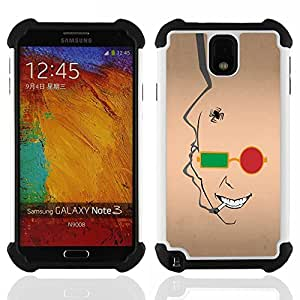 """SAMSUNG Galaxy Note 3 III / N9000 / N9005 - 3 en 1 impreso colorido de Altas Prestaciones PC Funda chaqueta Negro cubierta gel silicona suave (Resumen de la cara"""")"""