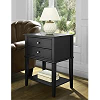 Accent End Table with 2 Storage Drawers - Bedroom Nightstand - Contemporary Living Room Colroed Side Table (Black)