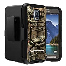 Samsung Galaxy S5 Active Case | S5 Active Holster Case by Untouchble [Heavy Duty Clip] Dual Layer Rugged Hybrid Armor [Kickstand] [Swivel Belt Holster Clip] - Real Hunter Camo