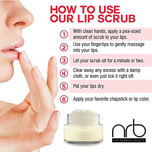 NRB Beauty Revival Lip Scrub 3 Piece Set - All Natural Sugar Based - Exfoliating & Moisturizes Chapped Dry Lips - 0.5 oz Each - Made In The USA - Citrus by NRB (Image #4)