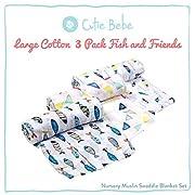 Cutie Bebe Nursery Muslin Swaddle Blanket Set- Large Cotton Receiving Blanket for Newborn, Baby Girl or Boy Unisex, 47  x 47  (3 Pack, Fish Friends)