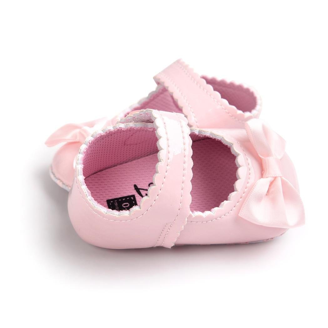 FORESTIME Baby Girl Bowknot Leater Shoes Sneaker Anti-Slip Soft Sole Toddler
