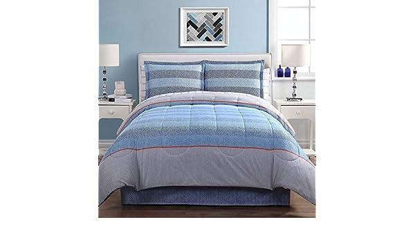 Lemon /& Spice Ellison Azores Stripe Reversible Queen Blue Bed in a Bag