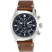 Jack Mason Men's Chronograph Watch Aviator Saddle Leather Strap JM-A102-018
