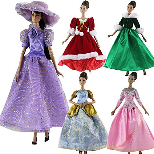 5Pcs Handmade Clothes Vintage Dress for Barbie Doll Wedding Noble Party Dresses Gown Outfit Costume Suit for 11.5 inch Dolls